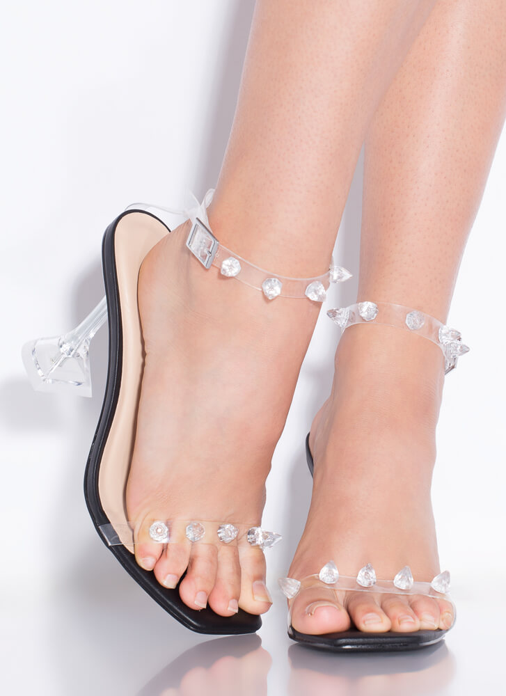 Icy Clear Jeweled Faux Leather Heels BLACK