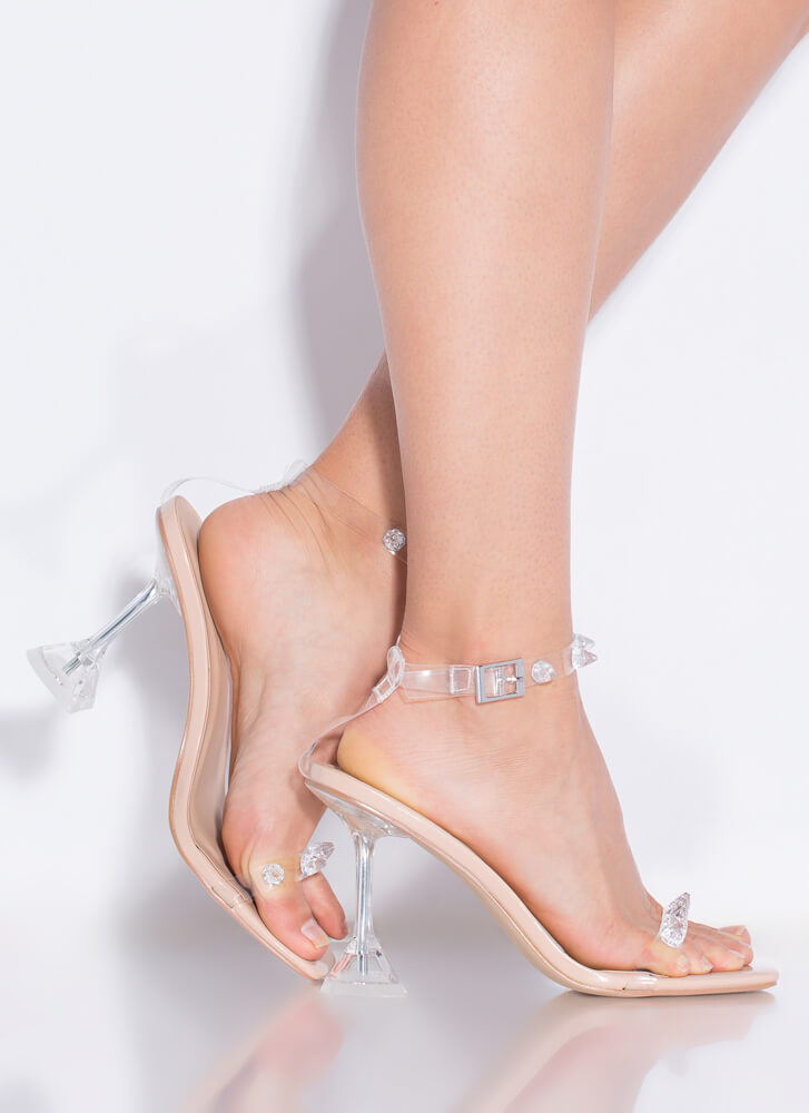 Icy Clear Jeweled Faux Patent Heels NUDE