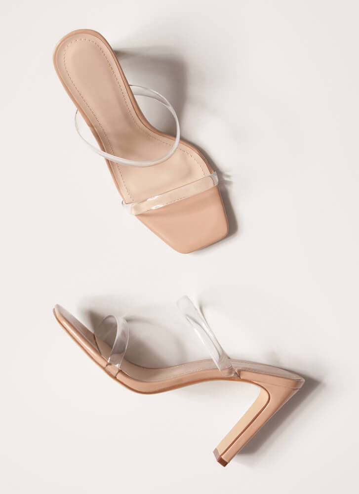 Bar Made Clear Jelly Strap Heels CLEAR