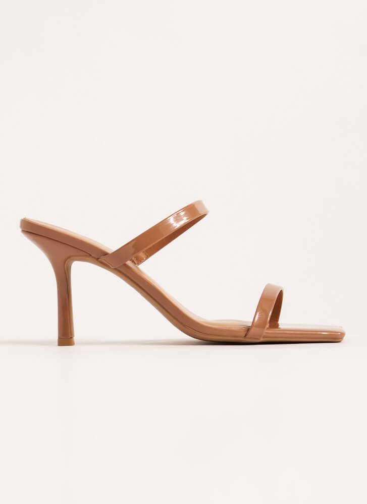 Foot Fetish Strappy Faux Patent Heels TAN