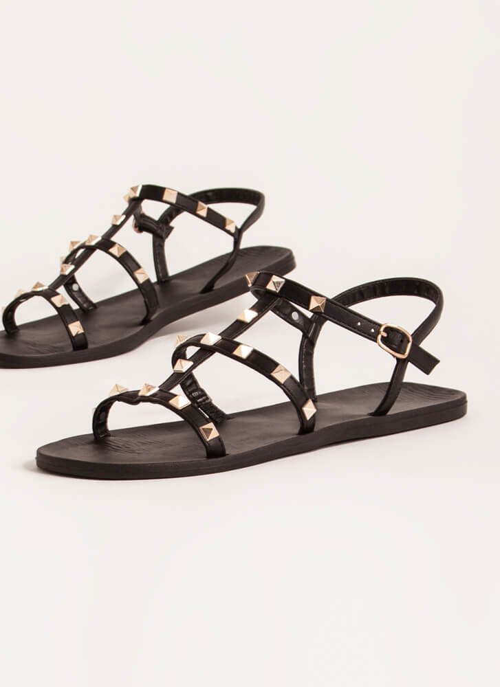 Finishing Touch Studded Caged Sandals BLACK