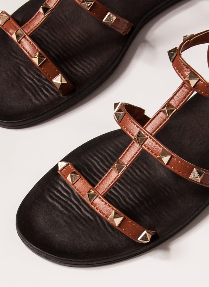 Finishing Touch Studded Caged Sandals DKTERRACOTTA