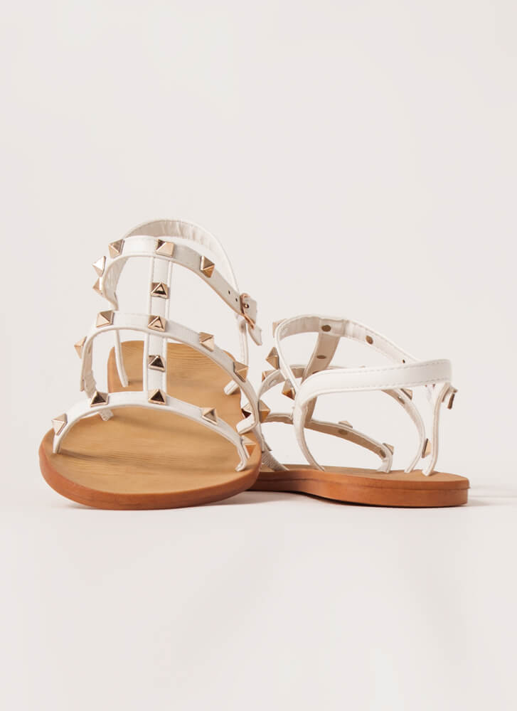 Finishing Touch Studded Caged Sandals WHITE