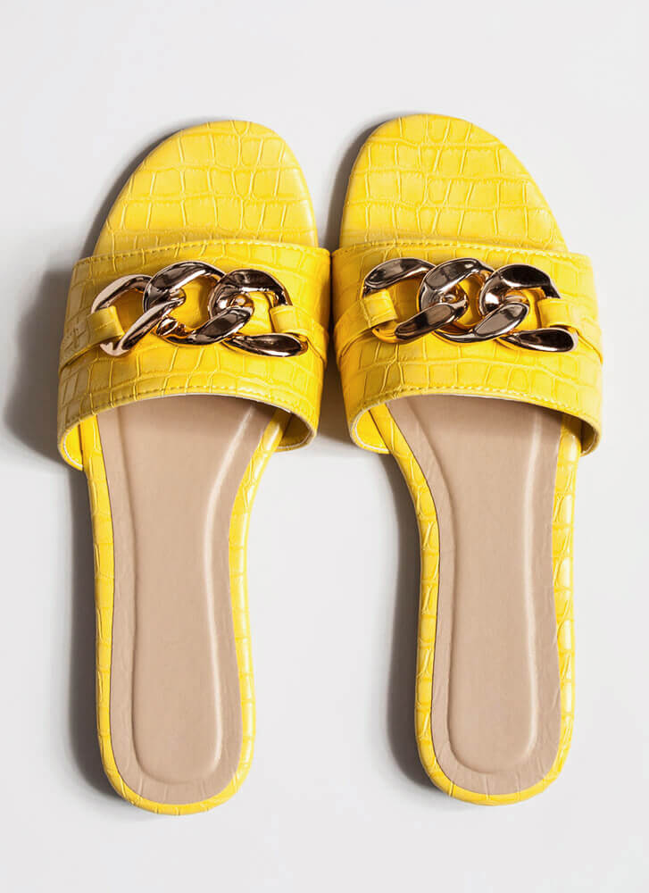 I Reptile Chain-Link Slide Sandals YELLOW