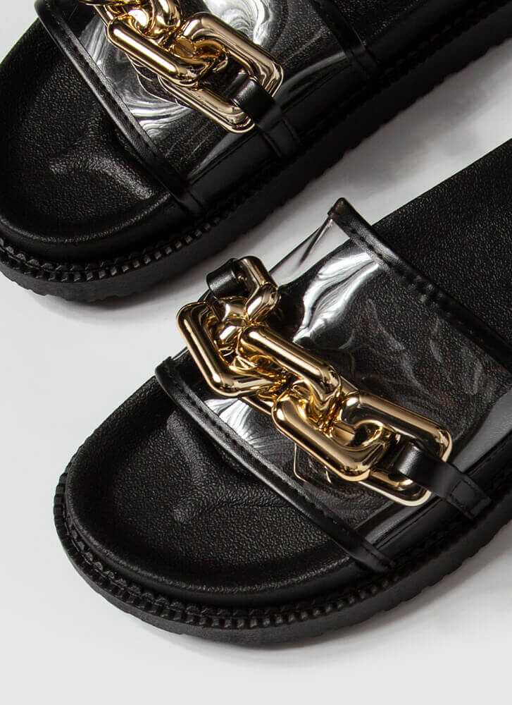 On The Links Clear Chained Slide Sandals BLACK