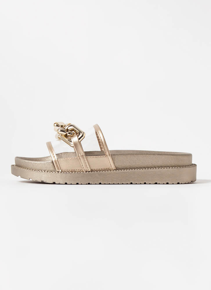 On The Links Clear Chained Slide Sandals GOLD
