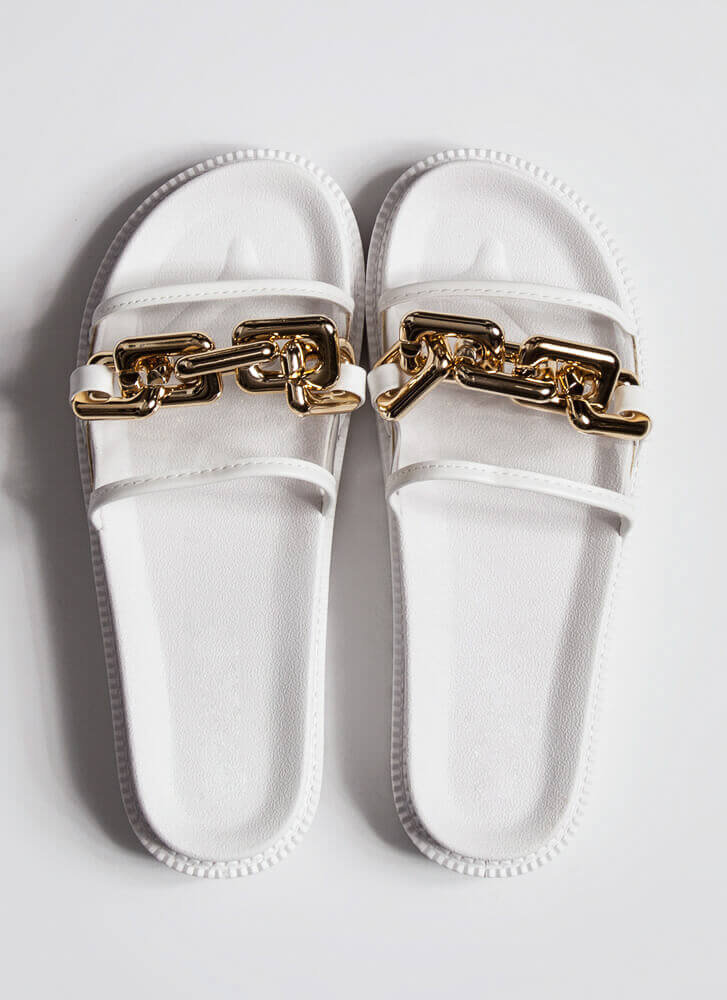 On The Links Clear Chained Slide Sandals WHITE