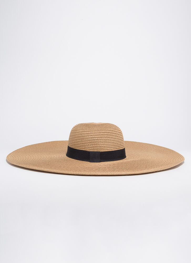 Big Vacation Trimmed Extra Wide Sun Hat KHAKI
