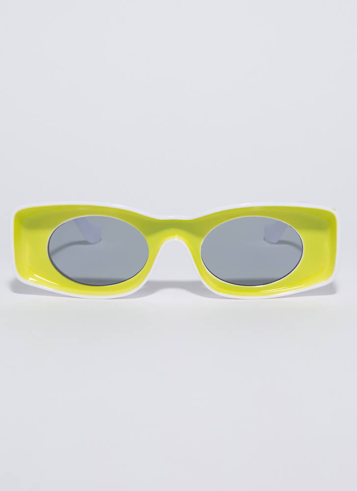 Have Fun Concave Two-Toned Sunglasses LIME