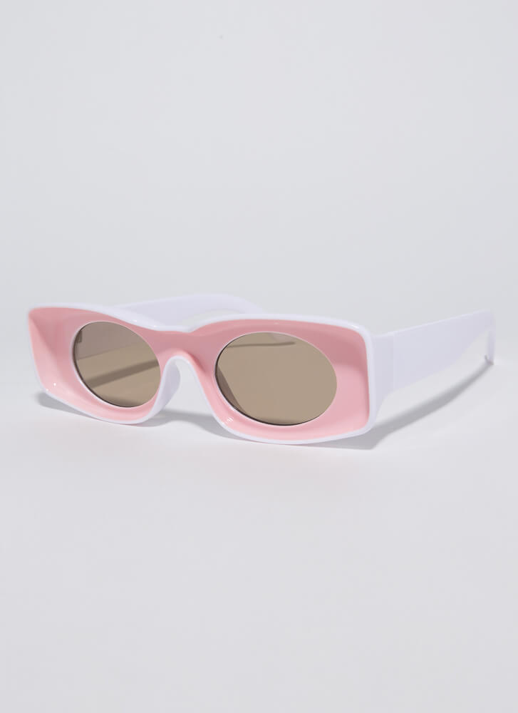 Have Fun Concave Two-Toned Sunglasses PINK