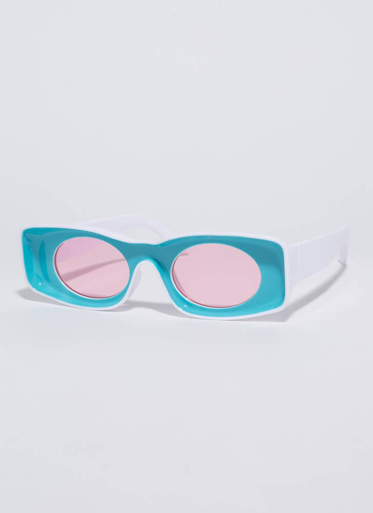 Have Fun Concave Two-Toned Sunglasses TEAL