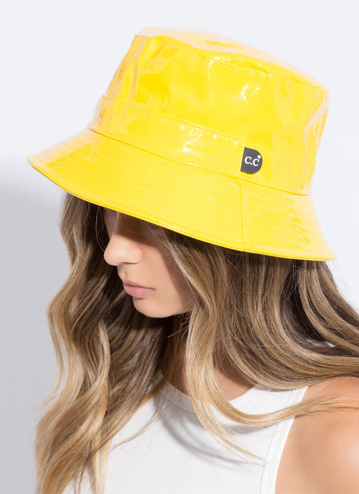 Top Of Your Game Faux Patent Bucket Hat YELLOW