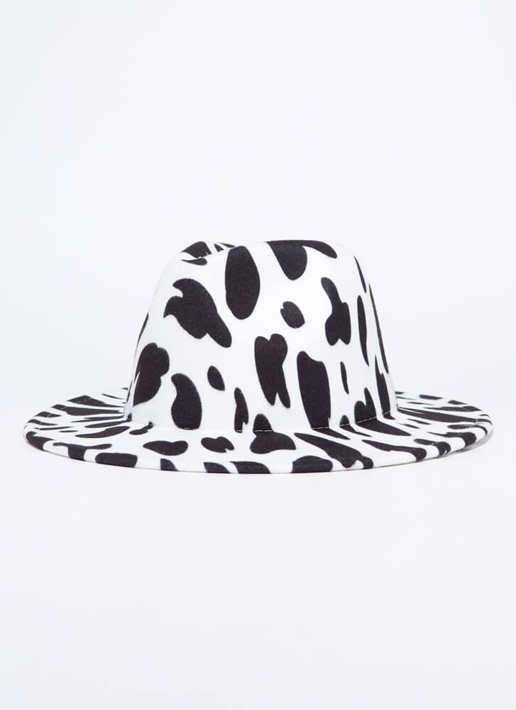 Moo Point Felted Cow Print Fedora WHITE