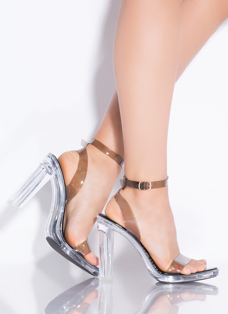 My Future Is Clear Strappy Lucite Heels BLACK