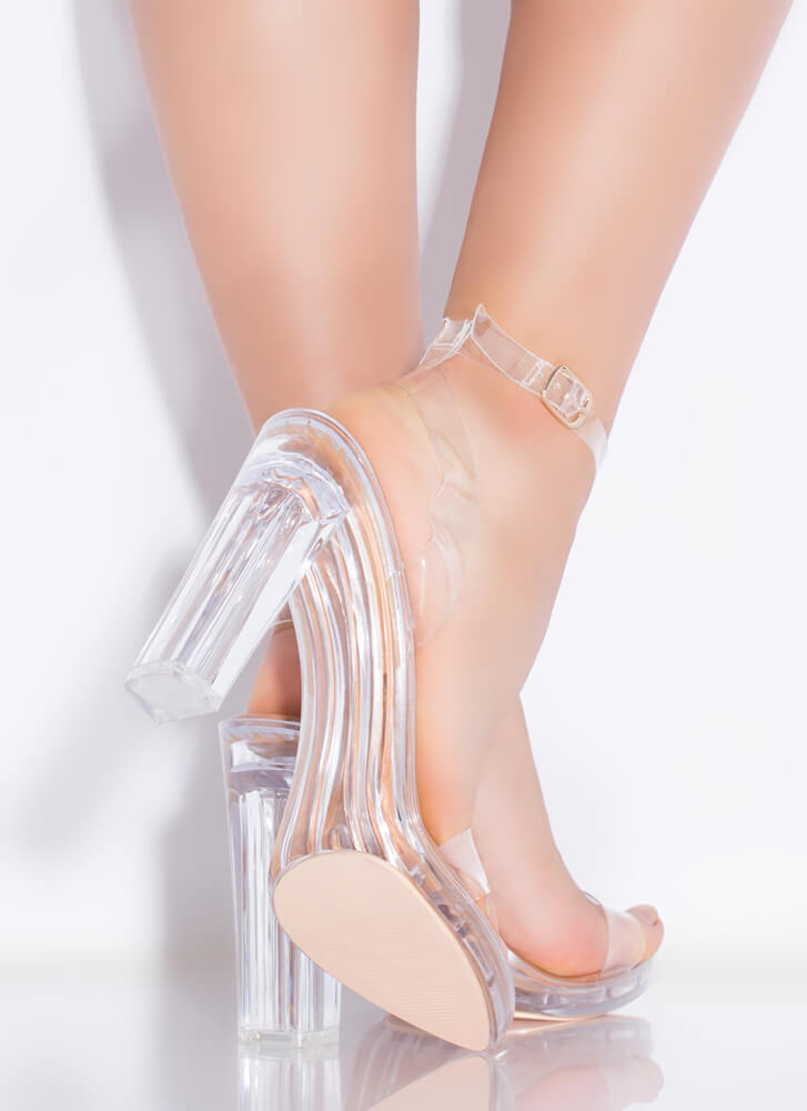 My Future Is Clear Strappy Lucite Heels HONEY