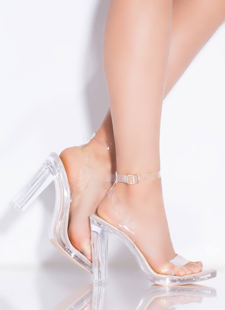 My Future Is Clear Strappy Lucite Heels NUDE