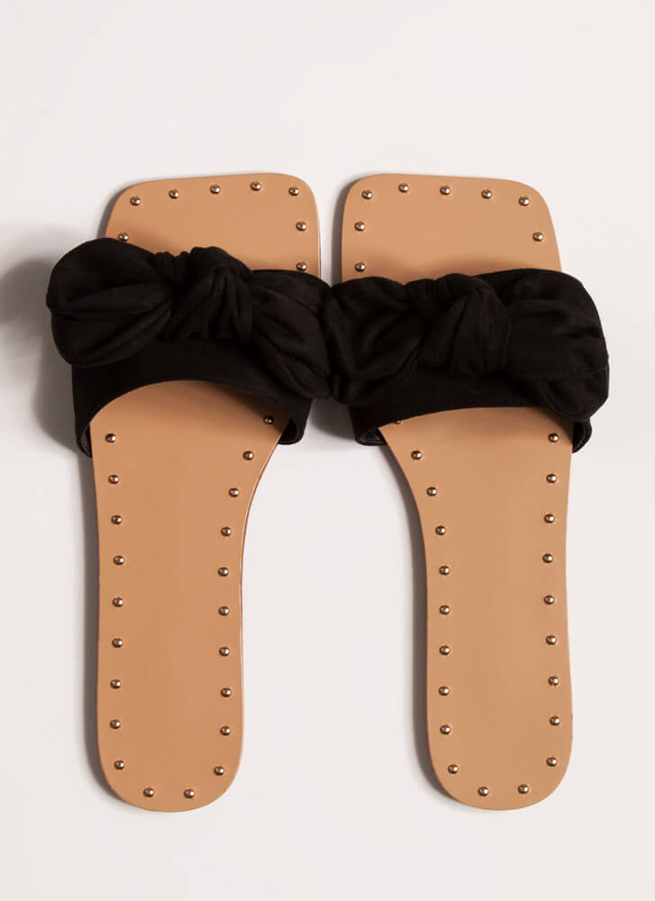 I'm Knot In Studded Bow Sandals BLACK