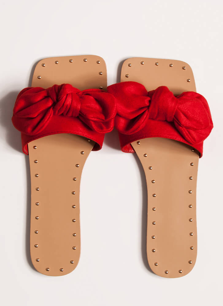 I'm Knot In Studded Bow Sandals RED
