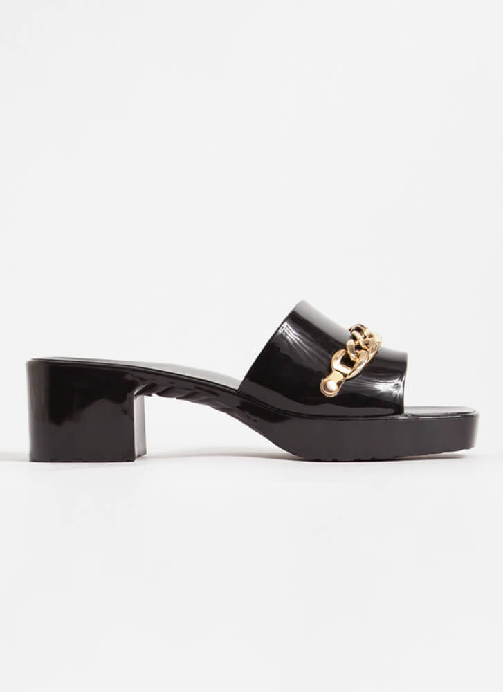 You're So Jelly Chain Accent Block Heels BLACK