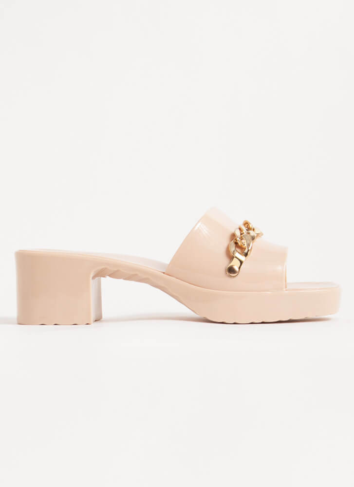 You're So Jelly Chain Accent Block Heels NUDE
