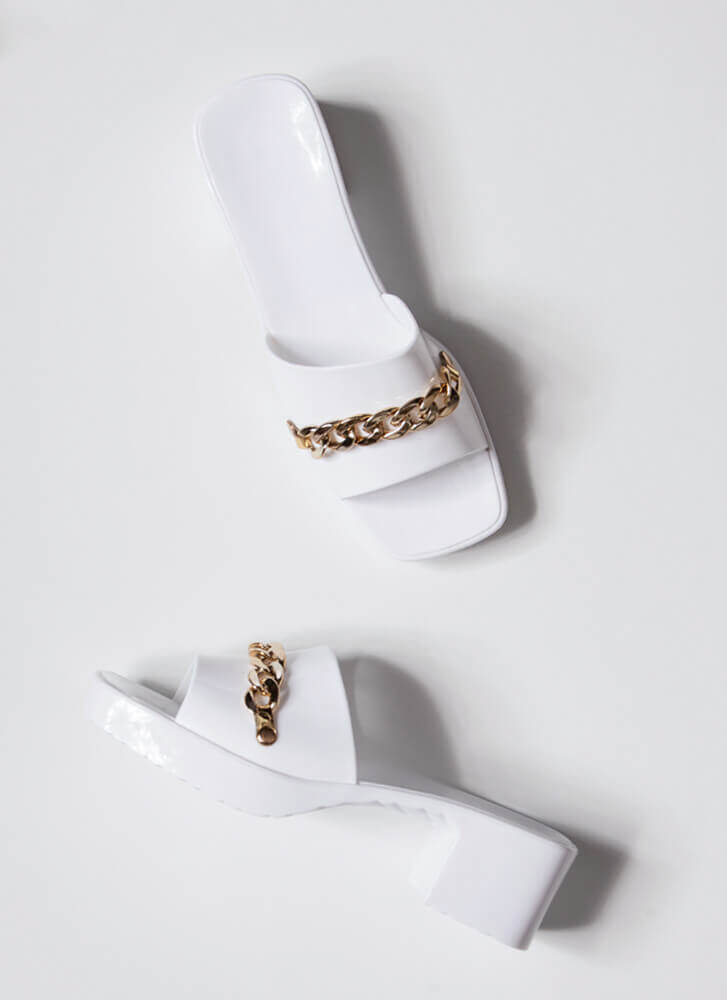 You're So Jelly Chain Accent Block Heels WHITE