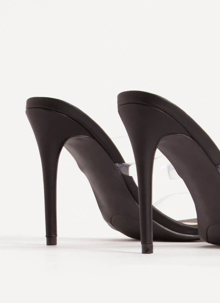 Clear Up Faux Leather Jelly Strap Heels BLACK