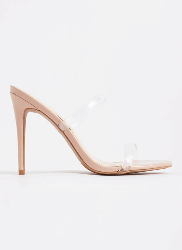 Clear Up Faux Patent Jelly Strap Heels NUDE