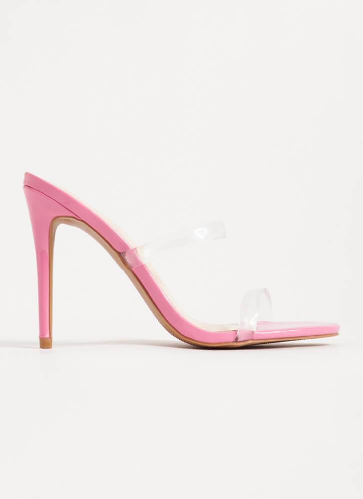 Clear Up Faux Patent Jelly Strap Heels PINK