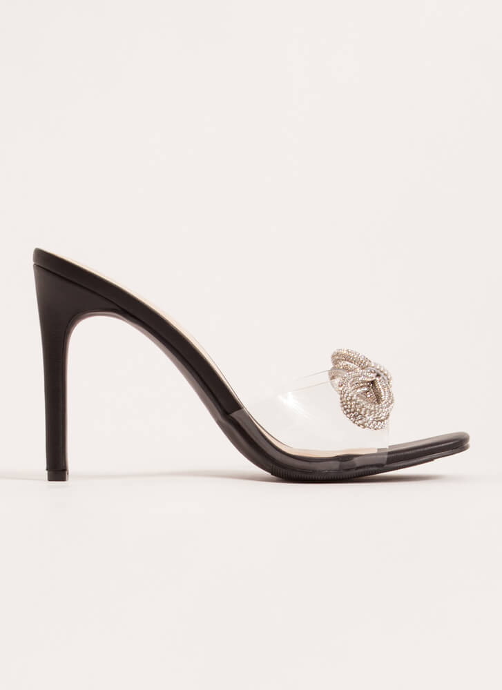 Bows With Anything Clear Jeweled Heels BLACK