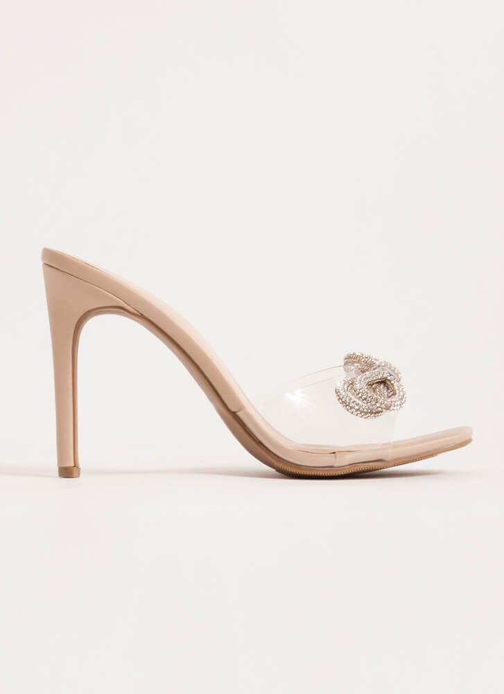 Bows With Anything Clear Jeweled Heels CLEAR