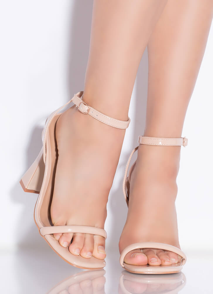 A Little Flare Faux Patent Strappy Heels NUDE