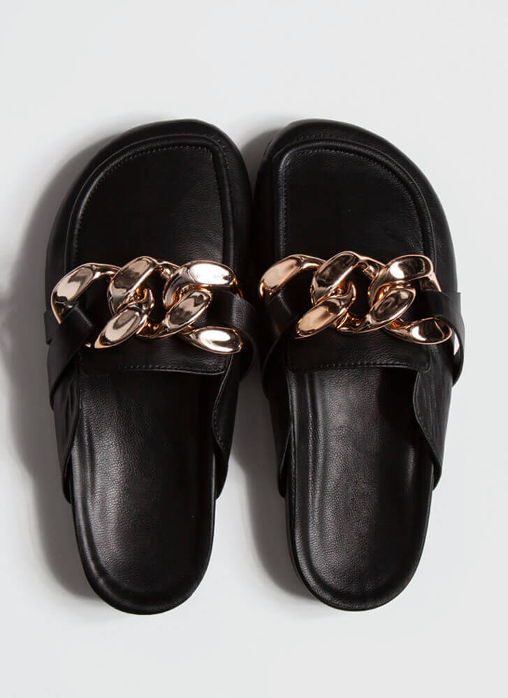 Chain-ge Of Plans Moccasin Mule Flats BLACK