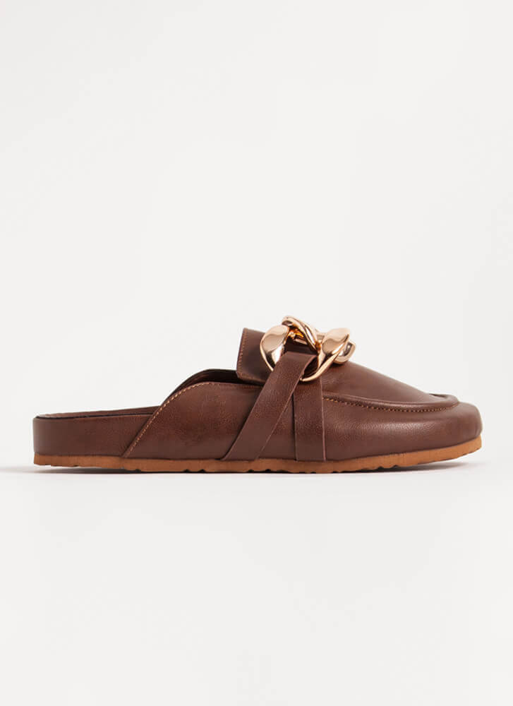 Chain-ge Of Plans Moccasin Mule Flats CHESTNUT