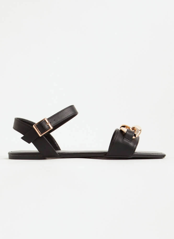 Linked Ankle Strap Chain Accent Sandals BLACK