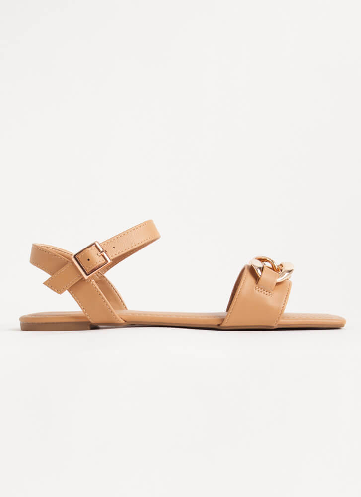 Linked Ankle Strap Chain Accent Sandals CHAI