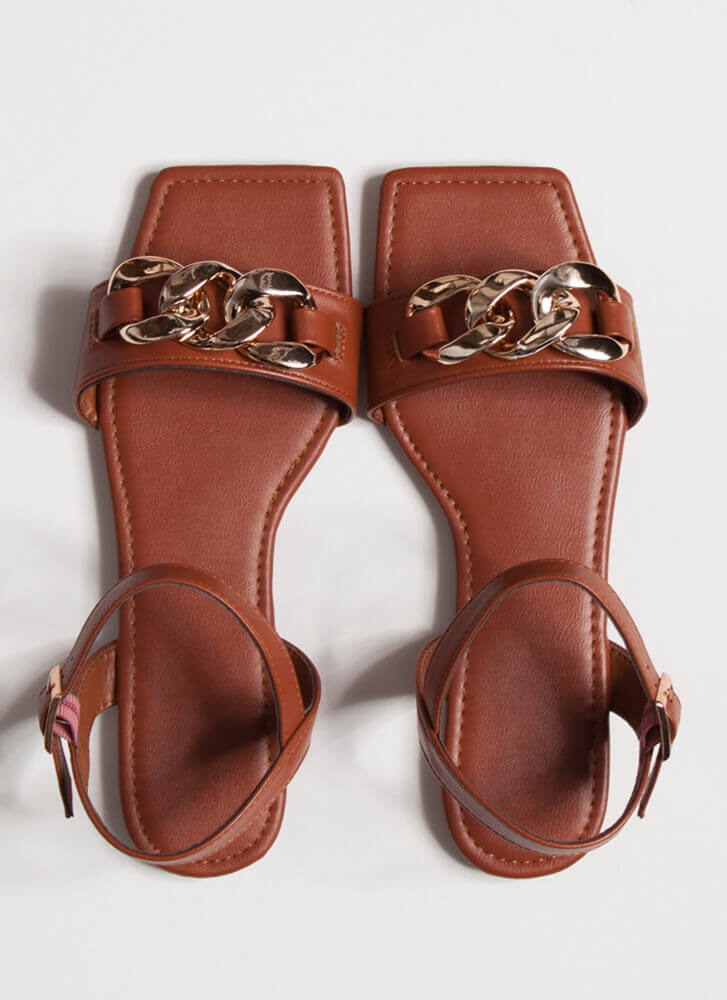 Linked Ankle Strap Chain Accent Sandals DKTERRACOTTA