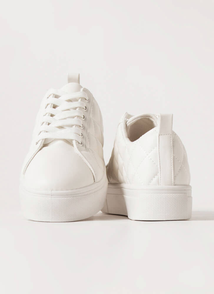 De-Luxe Quilted Platform Sneakers WHITE