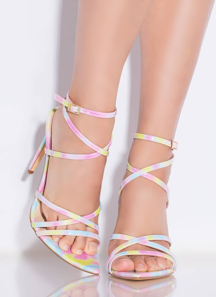 All Straps Pointy Multi-Colored Heels MULTI