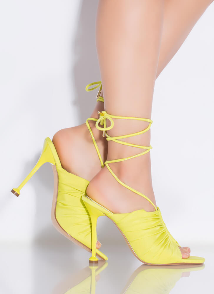 Shirr Thing Lace-Up Peep-Toe Heels LIME
