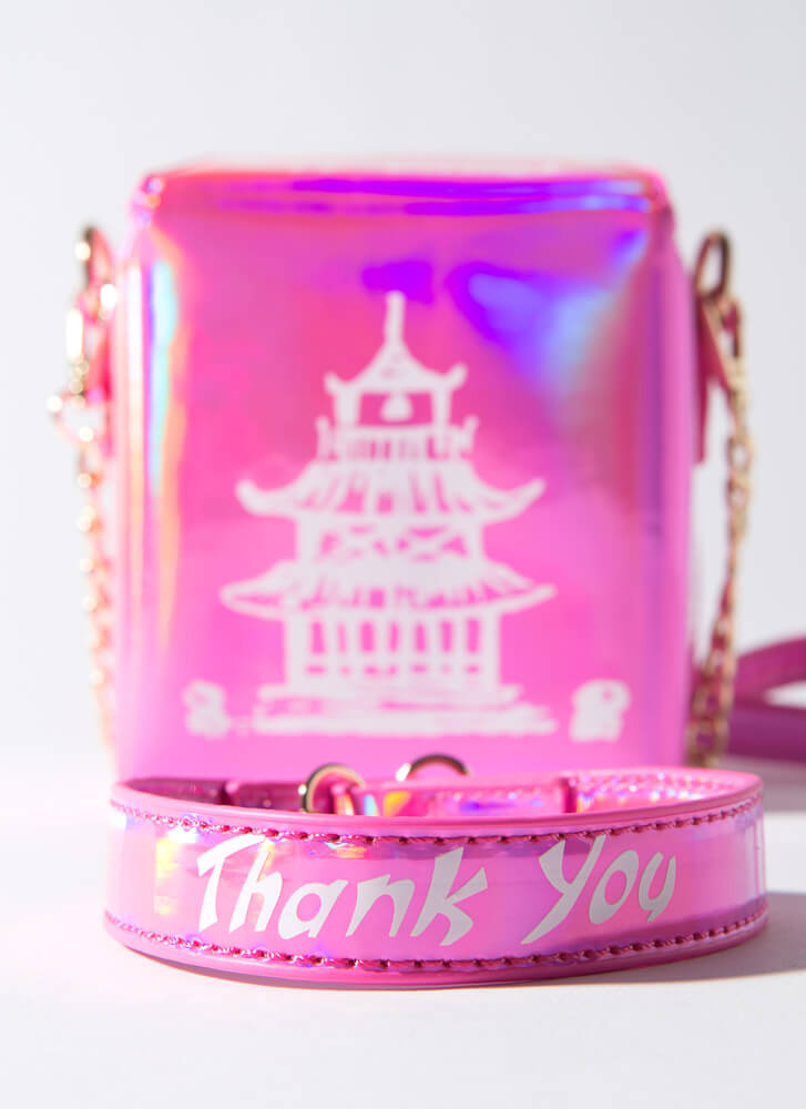Craving Holographic Takeout Box Purse PINK