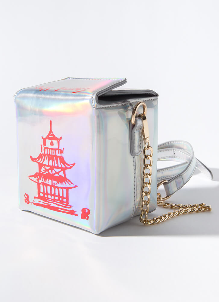 Craving Holographic Takeout Box Purse SILVER