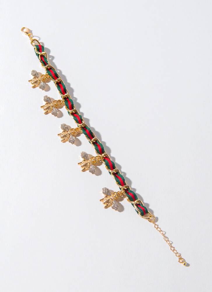 Bee Keeper Jeweled Striped Charm Anklet REDGREEN