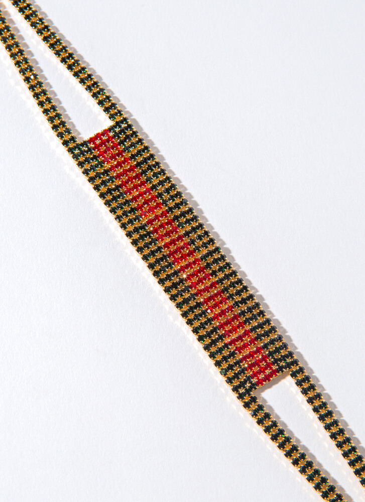 Class Of Its Own Jeweled Striped Anklet REDGREEN