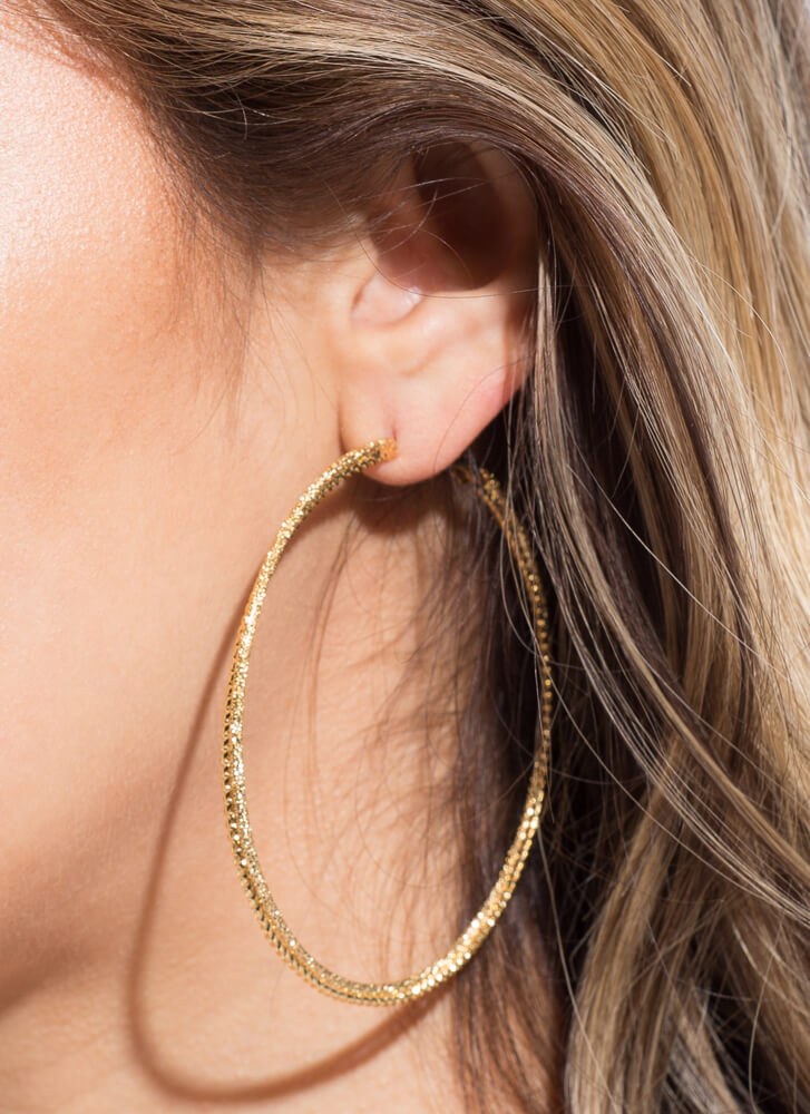 Double Time Textured Oversized Hoops GOLD