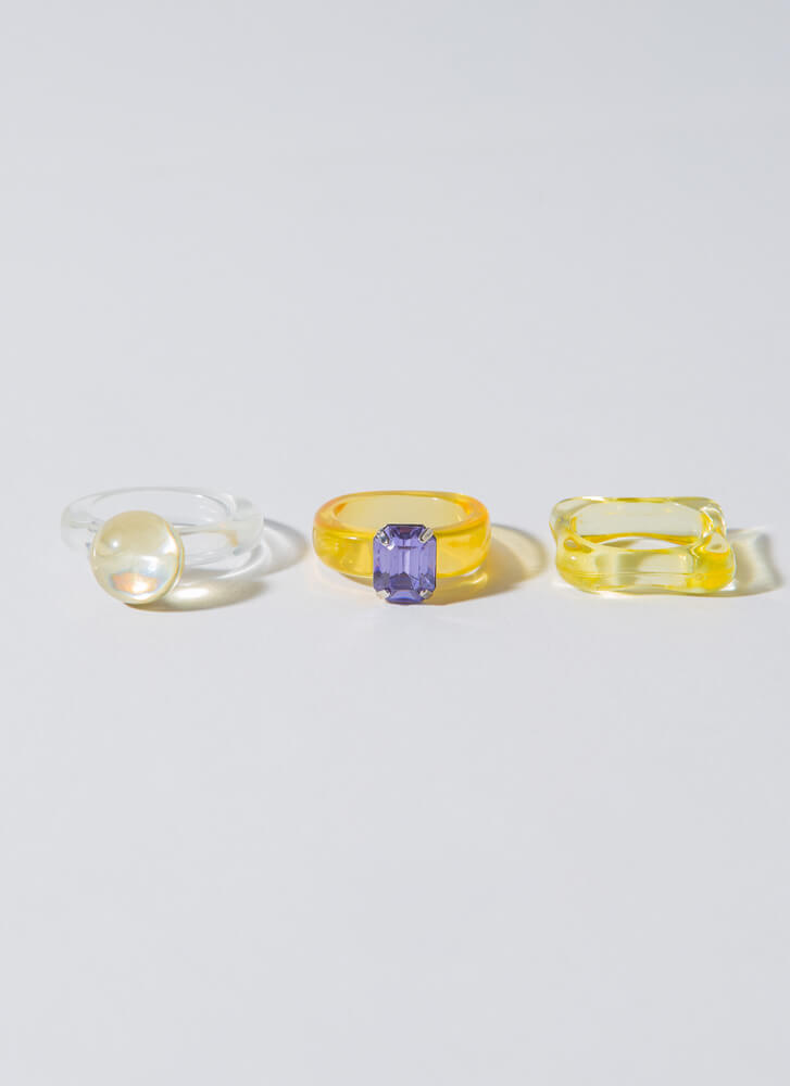 Playthings Clear Chunky Ring Set YELLOW