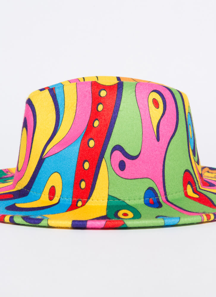 Be Colorful Abstract Psychedelic Fedora MULTI