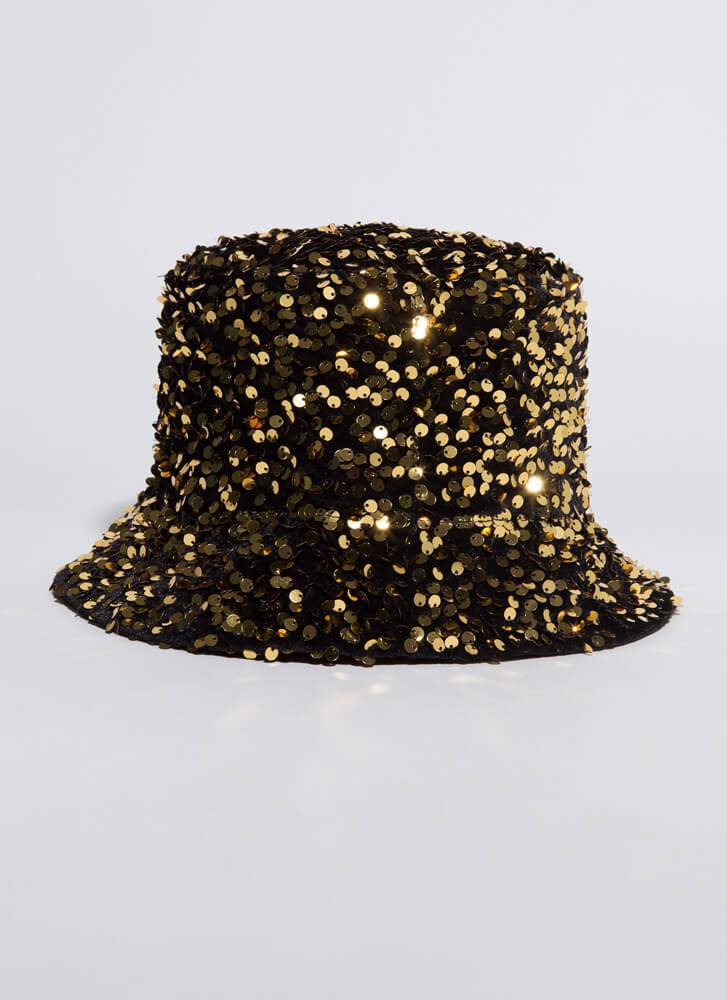 Sequined Sparkle Reversible Bucket Hat GOLD