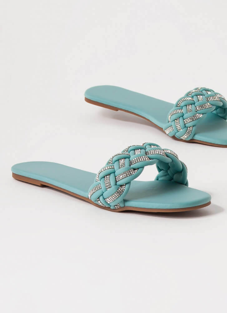 Special Braided Jeweled Slide Sandals MINT
