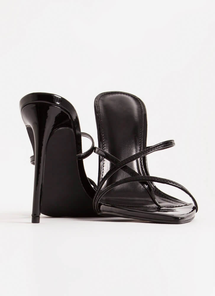 Stepping Out Strappy Stiletto Heels BLACK