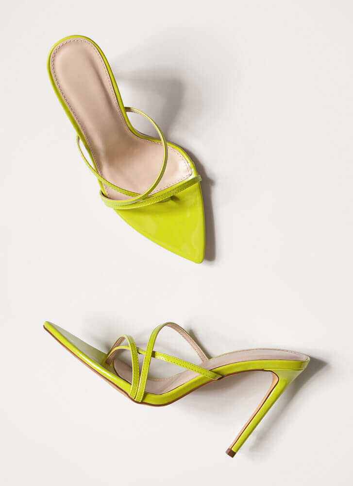 Stepping Out Strappy Stiletto Heels LIME